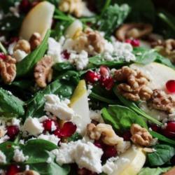 Spinach Pear Feta Salad